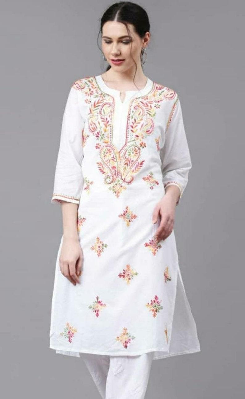 Lucknowi Chikankari Pure cotton summer Tunic Kurti short Chikan kurta thread work shirt boho look beach wear Indo western ethnic ethnic