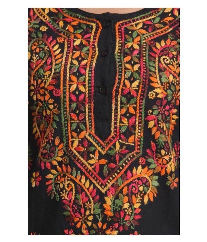 New Lucknawi chikan PURE Cotton Kurti Beachwear A line Tunic Kurta Full thread work block prints Hand embroidery Chikankari kaftan long