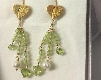 Earrings Silver 925 Peridot Freshwater pearls