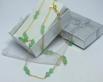 925 silver and Chrysoprase gold necklace