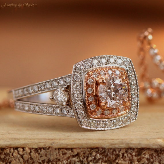Pink Diamond Ring White And Rose Gold Engagement Ring Double Etsy