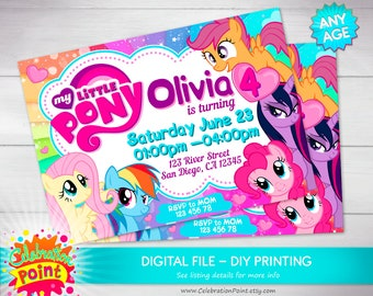 Little pony Invitation, little pony Party, little pony Birthday Invitation, little pony girl Invitation - ONLY FILE