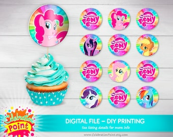 Little pony cupcake toppers, little pony Party, little pony Birthday decor, little pony girl birthday - ONLY FILE