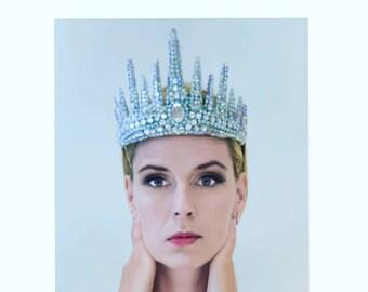 adult ice queen tiara snow queen headdress icicle crown halloween costume winter crown diadem