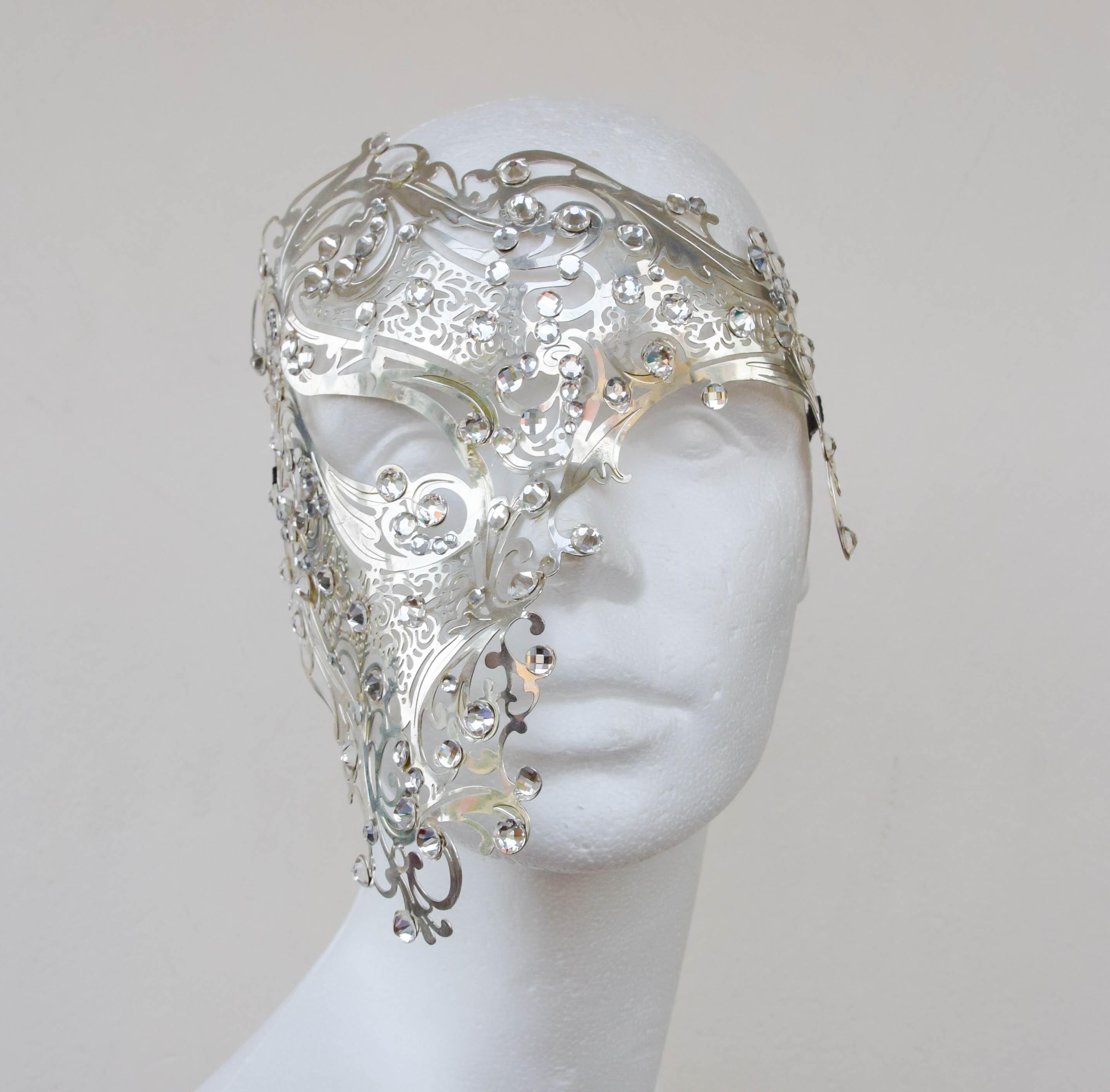 White Crystal Tiara Laser Cut Mask Masquerade Halloween Metal Filigree