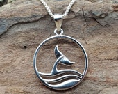 Sterling Silver Whale Tail Ocean Wave Charm on Chian