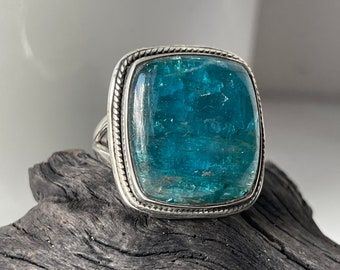 Neon Blue Apatite Ring Size 8 12