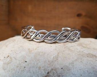 Native American Inspired Hand Braided Sterling Silver Cuff Bracelet