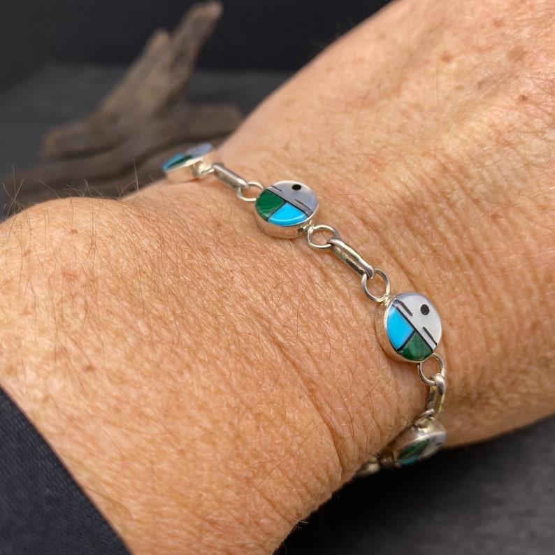 Zuni Made Inlaid Sterling Silver Sun Face Bracelet