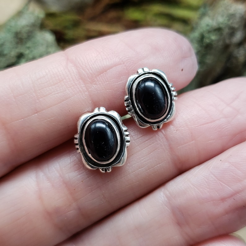 Navajo Made Sterling Silver Onyx Studs  VM Signed Jewelry