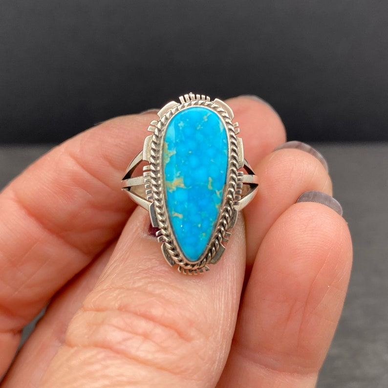 Navajo Sterling Silver Turquoise Statement Ring Size 6