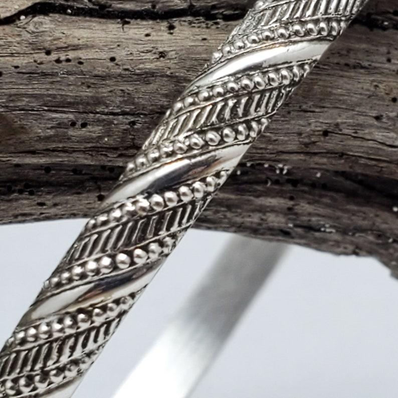 Hand Made Rope Ribbon Sterling Silver Bangle