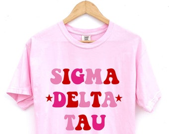 Sigma Delta Tau // Pink Red Stars Sorority Shirt // Comfort Colors // Sorority Gift