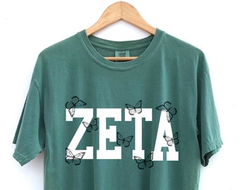 Zeta Tau Alpha // ZTA // The Keely Butterfly Sorority Shirt // Comfort Colors // More Colors Available!