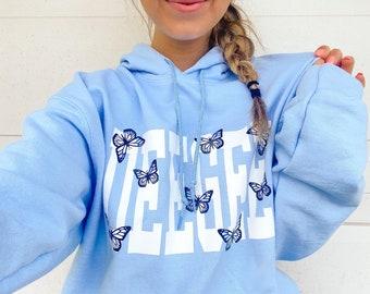 The Keely Butterfly Sorority Sweatshirt // Light Blue Hooded Sweatshirt //  Sorority Hooded Sweatshirt