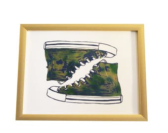 b533697e7f93 Converse Shoes (Blue Green Watercolor foiled print) -GOLD FRAME INCLUDED!