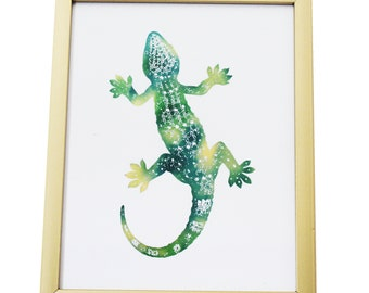 Lizard Foiled Print (Gold Frame INCLUDED!)