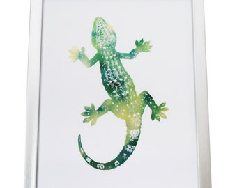 Lizard Foiled Print (Silver Frame INCLUDED!)