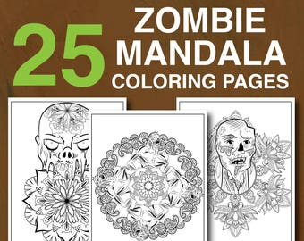 25 Zombie Mandala Coloring Pages
