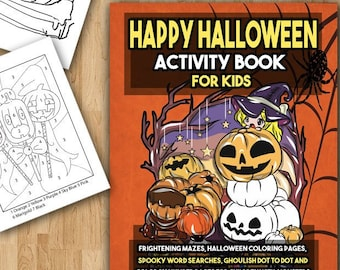 Halloween Activity Book Halloween Coloring Pages for Kids Happy Halloween Mazes Color by Number Word Search and More Kids Activity Book