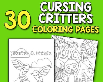 BEST VALUE 30 Cursing Critters Coloring Pages Cute Sweary Animal Book Vulgar Words Relaxation Stress Relief For Adult Women And Men