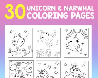 Narwhal coloring | Etsy