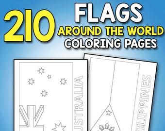 Flags Around The World Coloring Book Educational Geography Activity For Kids Adults And Teachers To Learn Every Country
