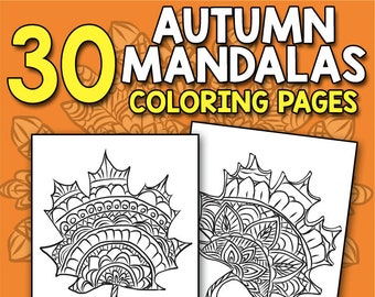 BEST VALUE 30 Autumn Mandalas Coloring Pages Fall Scenes Book With Stress Relief Patterns Adult