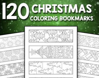 instant download 120 printable christmas bookmarks to color for kids and adults winder wonderland christmas coloring pages for adults teen