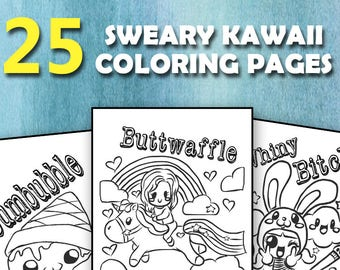 25 Sweary Kawaii Coloring Pages
