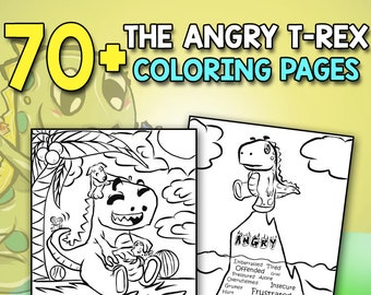 Anger Management Activity Book The Angry T Rex Color Me Calm To Relieve Stress And Anxiety Coloring Page Story