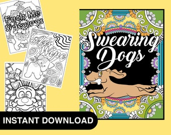 40 Pages Sweary Dog Adult Coloring Book Swear Word Books Curse