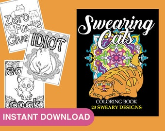 angry swearing cats creative sweary coloring book for adults with funny cursing words swear word coloring book