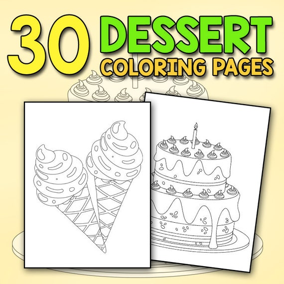 Sugary Sweets With Delicious Desserts Coloring Book Cakes Ice Etsy