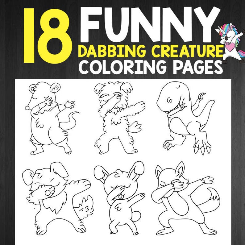 INSTANT DOWNLOAD - Funny Coloring Book Kids Dabbing Creatures with Cute  Funny Animal Coloring Pages for Kids, Teens and Adults on Christmas