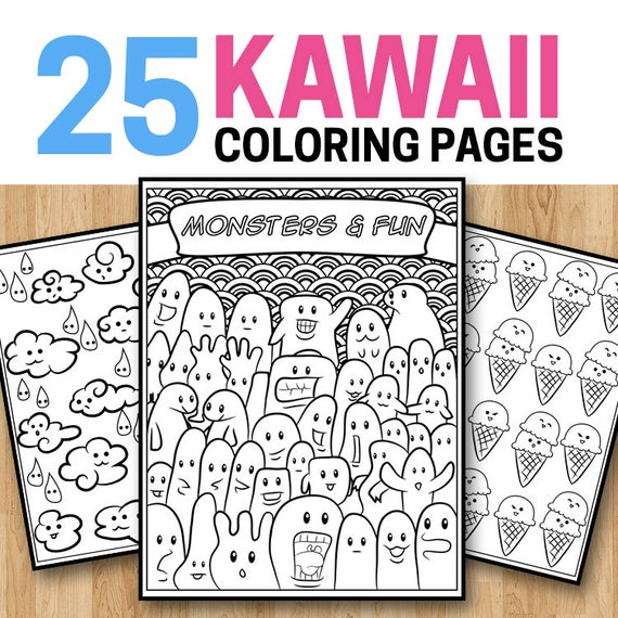 25 Kawaii Coloring Pages - Kawaii Coloring Book for Kids, Teens and Adults  Cute Coloring Book Printable Art PDF Coloring Book for Girls