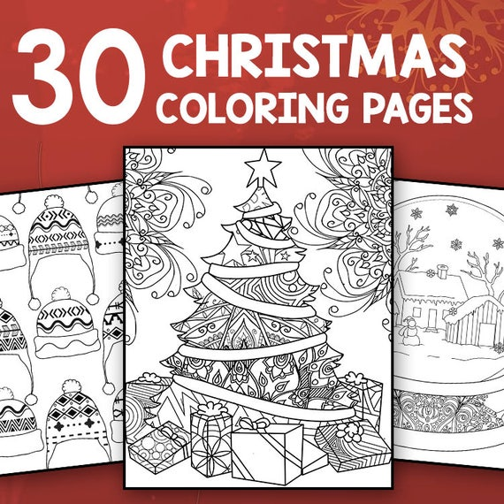 Instant Download 30 Christmas Coloring Pages For Adults Etsy
