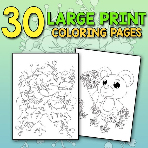 BEST VALUE Large Print Coloring Book Of Spring: An Easy And Etsy
