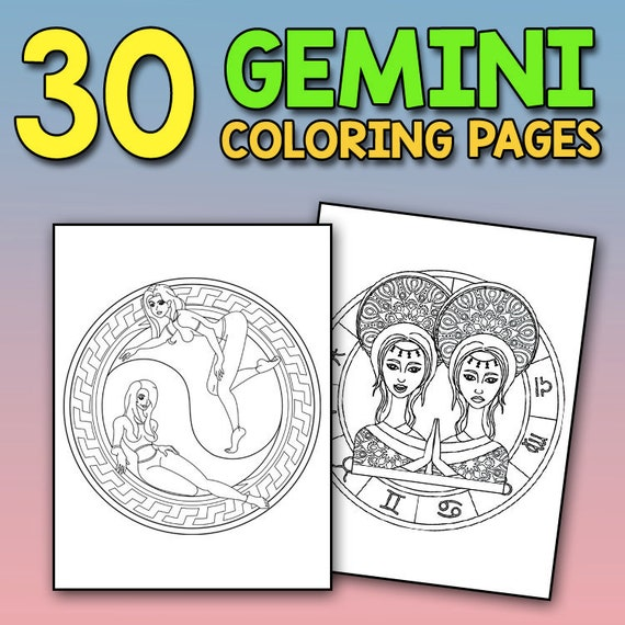 - Zodiac Coloring Book: Gemini Astrology Coloring Book For Etsy