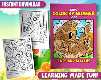 30 Color By Number Coloring Pages Cute Cat Book