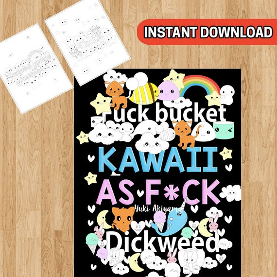 Swear Word Coloring Book 30 Kawaii Curse Word Coloring Pages Etsy