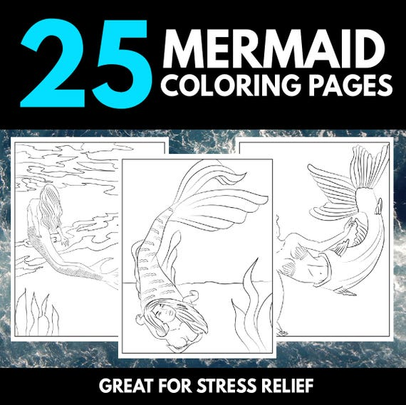 25 Mermaid Coloring Pages Instant Download Printable Pdf Mermaid Coloring Book For Adults Sexy Fantasy Magic Activity Book For Adults