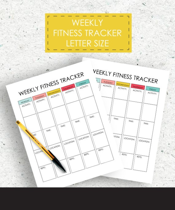 weekly fitness tracker workout tracker nutrition tracker etsy