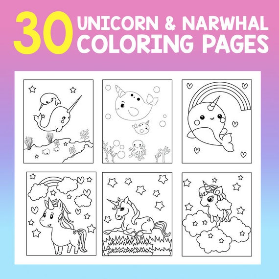 - INSTANT DOWNLOAD 30 Page Coloring Book Unicorn And Narwhal Etsy