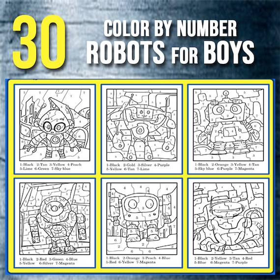 - BEST VALUE 30 Color By Number Robot Coloring Pages Instant Etsy