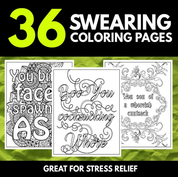 - 36 Swear Word Coloring Book Printable Quotes Mandala Patterns Etsy