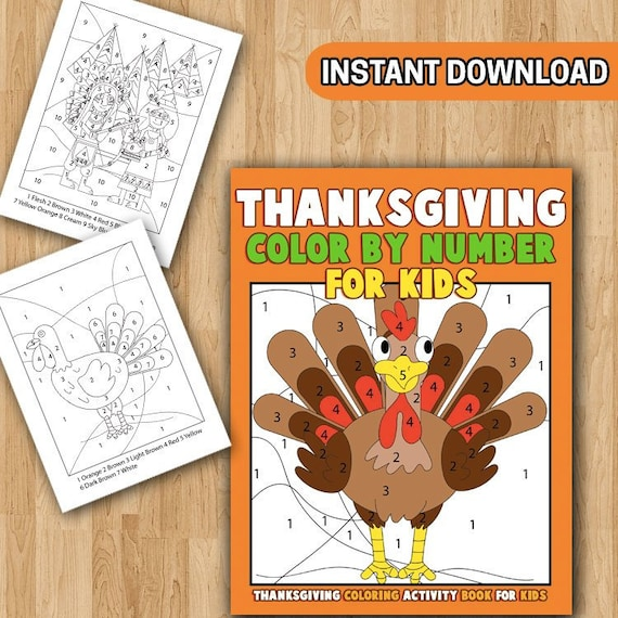 BEST VALUE 25 Thanksgiving Color By Number For Kids: A Etsy