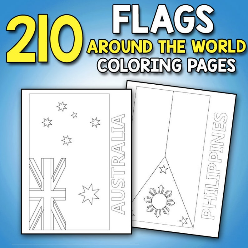 Flags Around The World Coloring Book Educational Geography Etsy