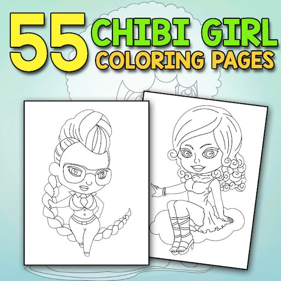 Naturally Cute Black Queens Chibi Coloring Book 55 Chibi Girl Etsy