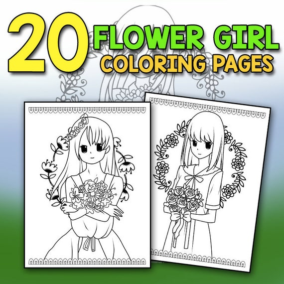Flower Girl Coloring Book Best Flower Girl Gift Ideas Wedding Coloring Book  Chibi Wedding Party Gifts for Kids Wedding Kids Activities PDF